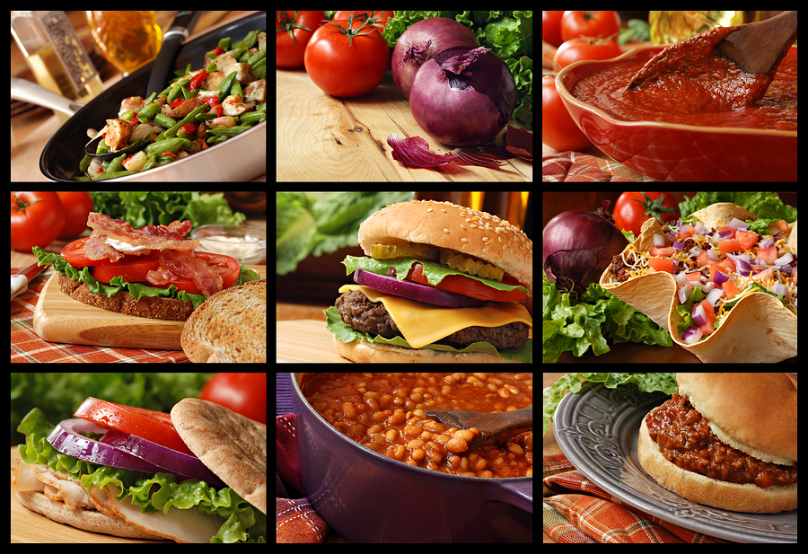 Colorful food collage includes veggie stir fry, cheeseburger, ta